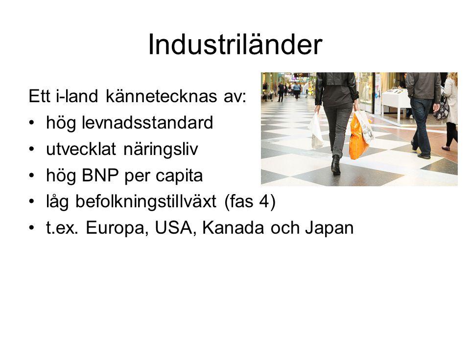 Industriländer Ett i-land kännetecknas av: hög levnadsstandard utvecklat näringsliv hög BNP per capita låg befolkningstillväxt (fas 4) t.ex. Europa, U