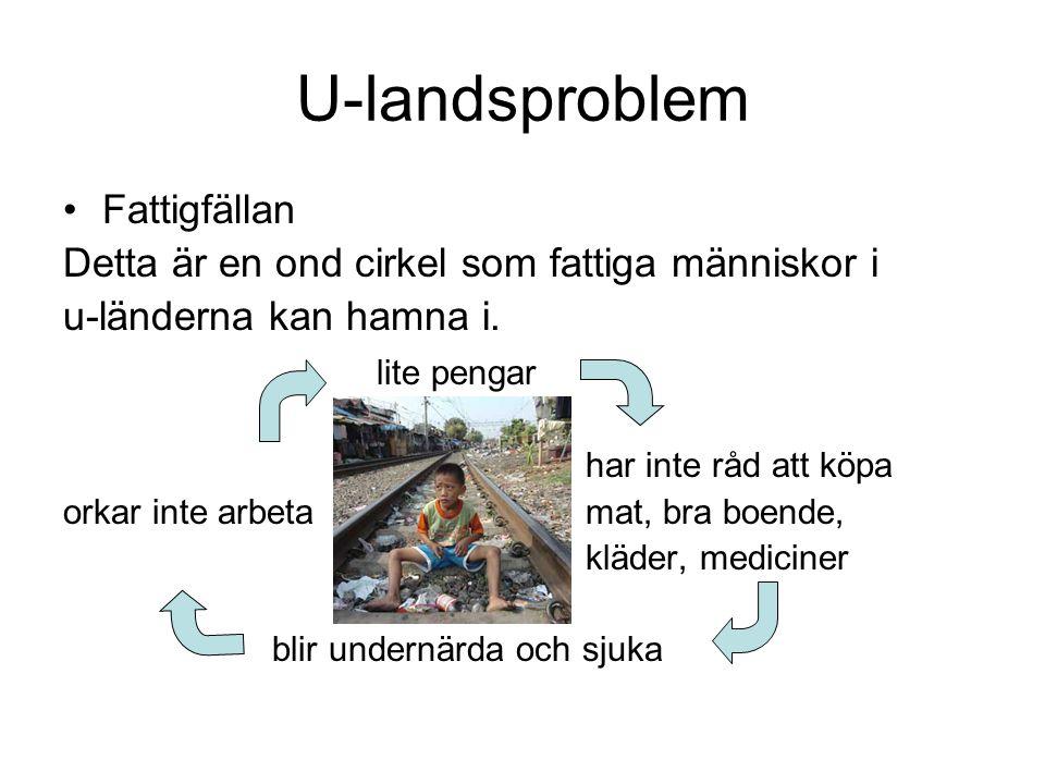 U-landsproblem Fattigfällan Detta är en ond cirkel som fattiga människor i u-länderna kan hamna i. lite pengar har inte råd att köpa orkar inte arbeta
