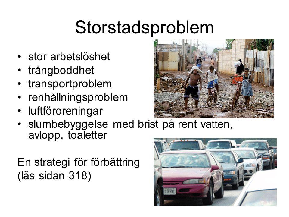 Storstadsproblem stor arbetslöshet trångboddhet transportproblem renhållningsproblem luftföroreningar slumbebyggelse med brist på rent vatten, avlopp,