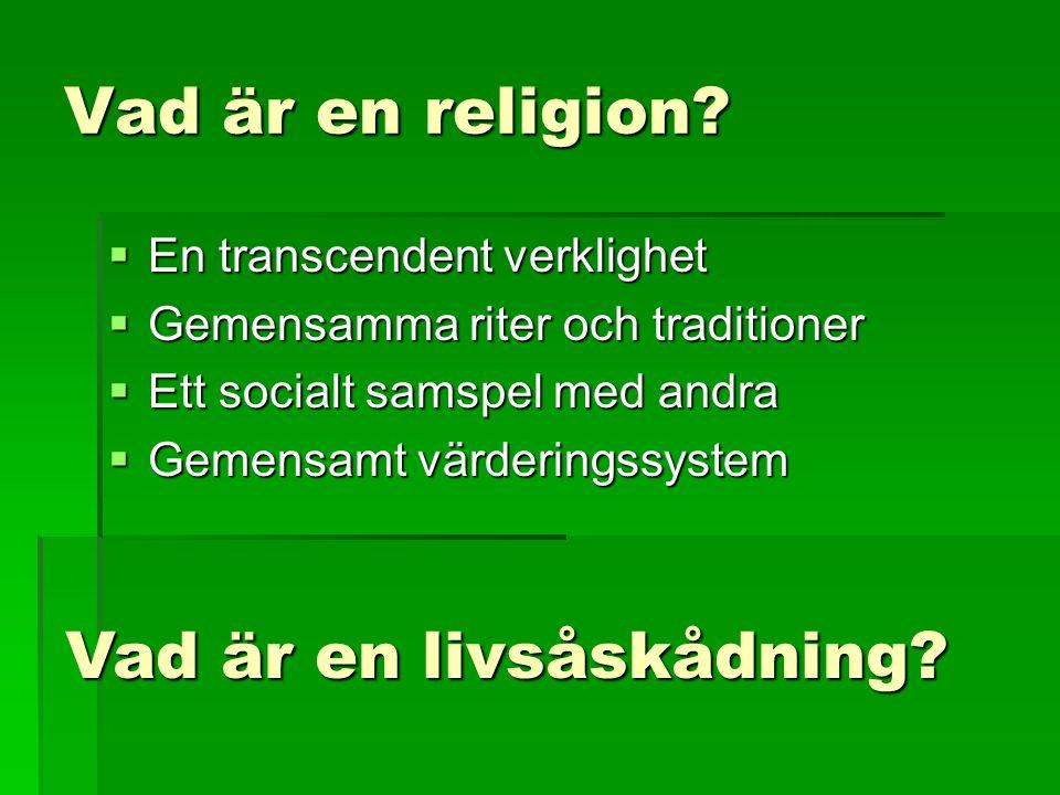Vad är en religion?  En transcendent verklighet  Gemensamma riter och traditioner  Ett socialt samspel med andra  Gemensamt värderingssystem Vad ä