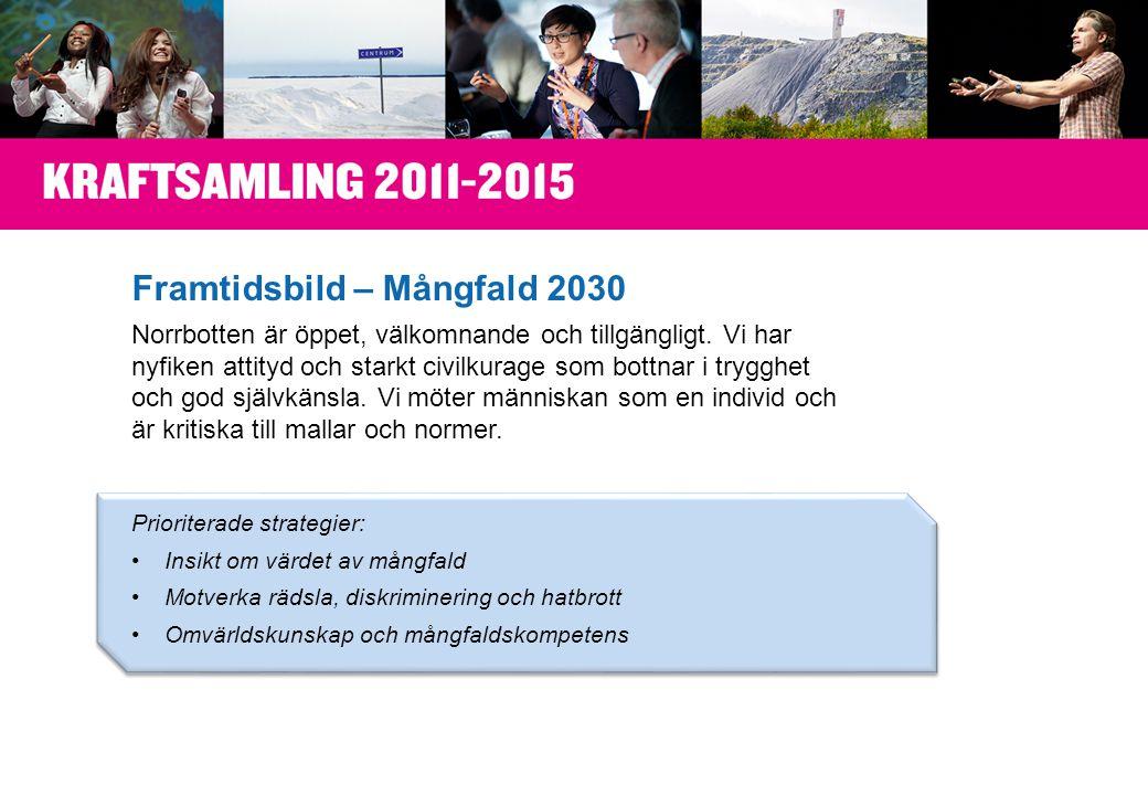 Framtidsbild – Mångfald 2030 Norrbotten är öppet, välkomnande och tillgängligt.