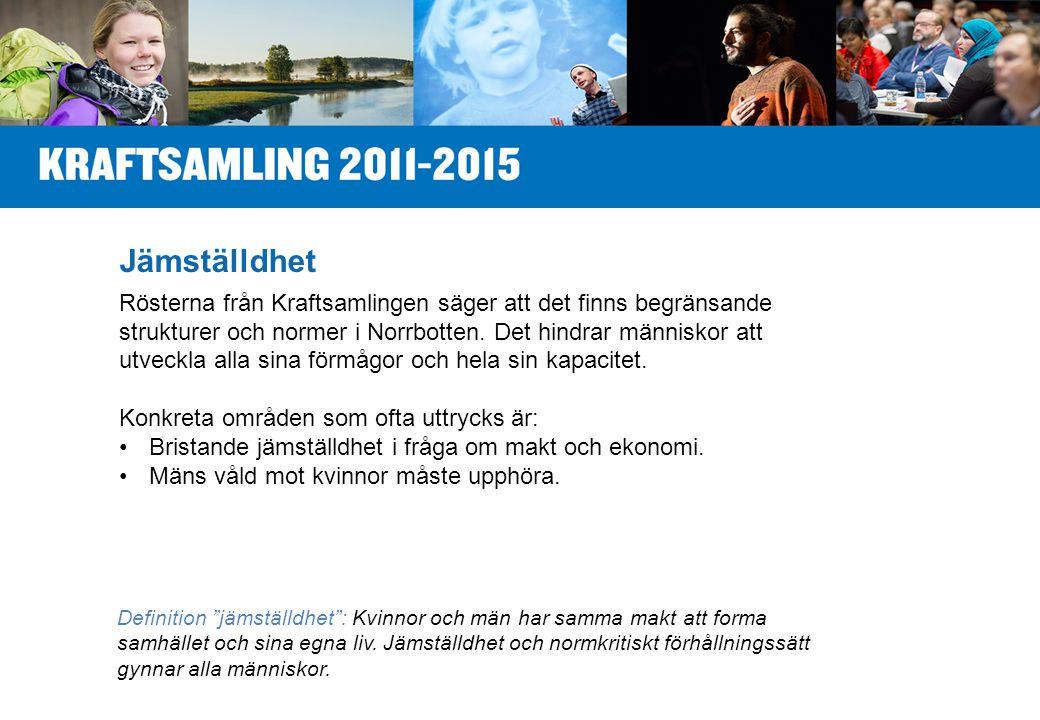 Jämställdhet Rösterna från Kraftsamlingen säger att det finns begränsande strukturer och normer i Norrbotten.