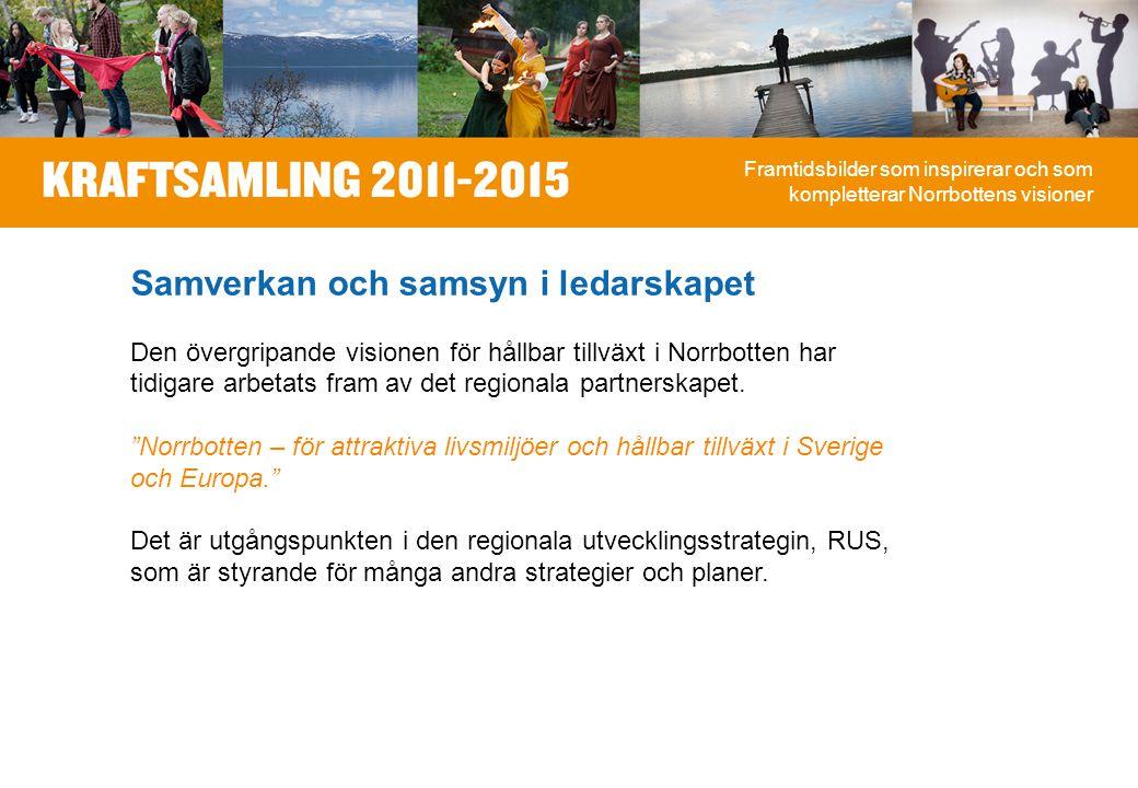 Samverkan och samsyn i ledarskapet Den övergripande visionen för hållbar tillväxt i Norrbotten har tidigare arbetats fram av det regionala partnerskapet.