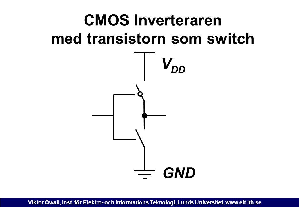 Viktor Öwall, Inst. för Elektro- och Informations Teknologi, Lunds Universitet, www.eit.lth.se CMOS Inverteraren med transistorn som switch GND V DD