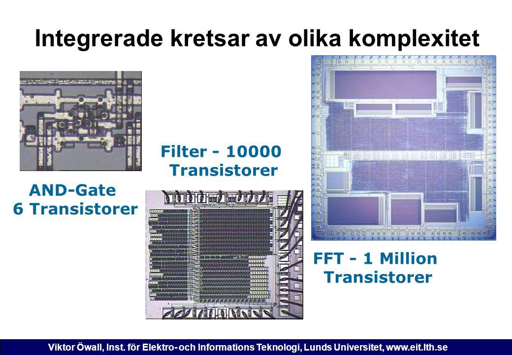 Viktor Öwall, Inst. för Elektro- och Informations Teknologi, Lunds Universitet, www.eit.lth.se Integrerade kretsar av olika komplexitet FFT - 1 Millio