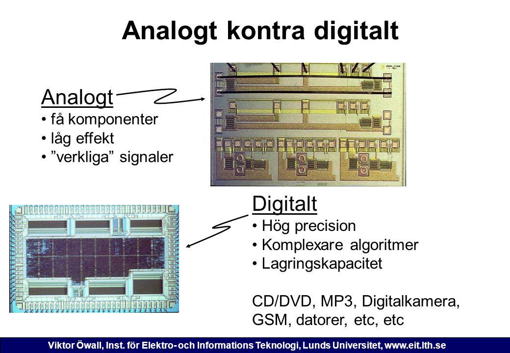 Viktor Öwall, Inst. för Elektro- och Informations Teknologi, Lunds Universitet, www.eit.lth.se Analogt kontra digitalt Analogt få komponenter låg effe