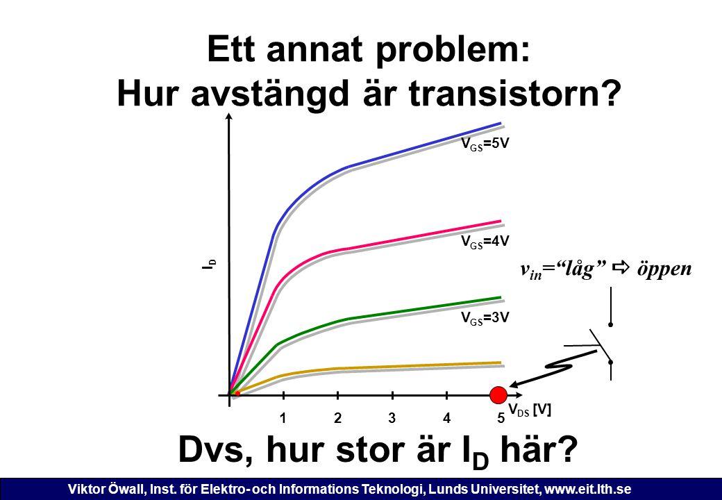 Viktor Öwall, Inst. för Elektro- och Informations Teknologi, Lunds Universitet, www.eit.lth.se Ett annat problem: Hur avstängd är transistorn? 12345 V