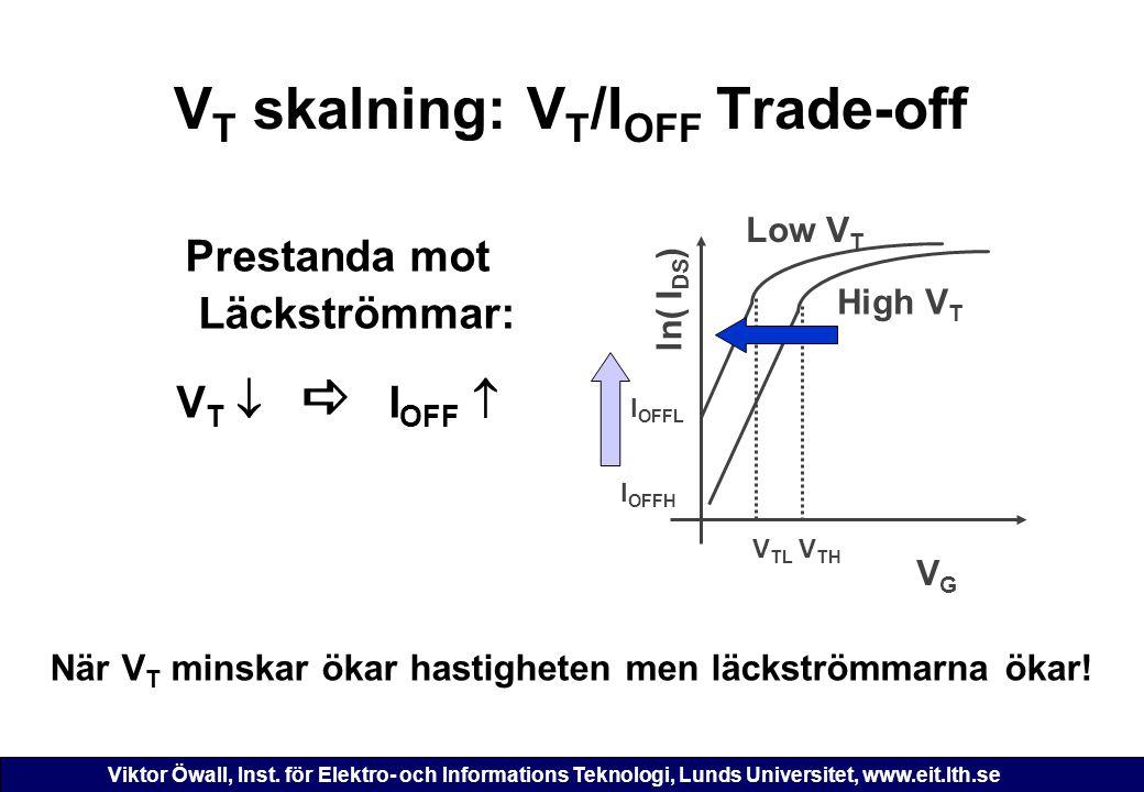 Viktor Öwall, Inst. för Elektro- och Informations Teknologi, Lunds Universitet, www.eit.lth.se V T skalning: V T /I OFF Trade-off När V T minskar ökar
