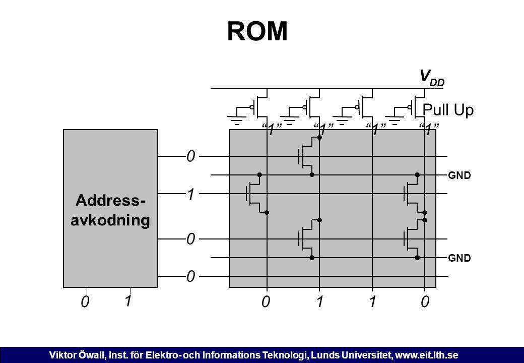 Viktor Öwall, Inst. för Elektro- och Informations Teknologi, Lunds Universitet, www.eit.lth.se ROM 0 V DD Pull Up 110 GND 0 1 0 Address- avkodning 0 1