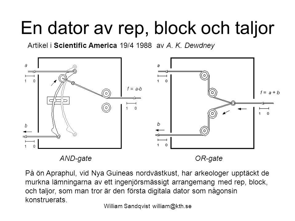 William Sandqvist william@kth.se En dator av rep, block och taljor Artikel i Scientific America 19/4 1988 av A. K. Dewdney På ön Apraphul, vid Nya Gui