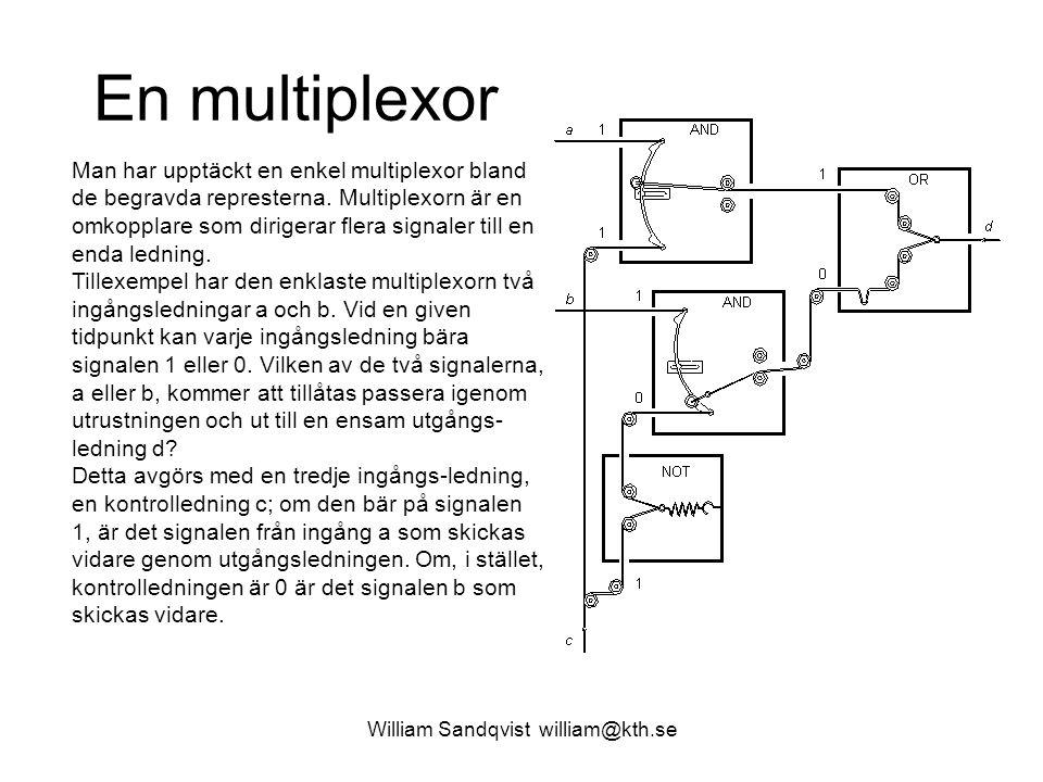 William Sandqvist william@kth.se En multiplexor Man har upptäckt en enkel multiplexor bland de begravda represterna. Multiplexorn är en omkopplare som