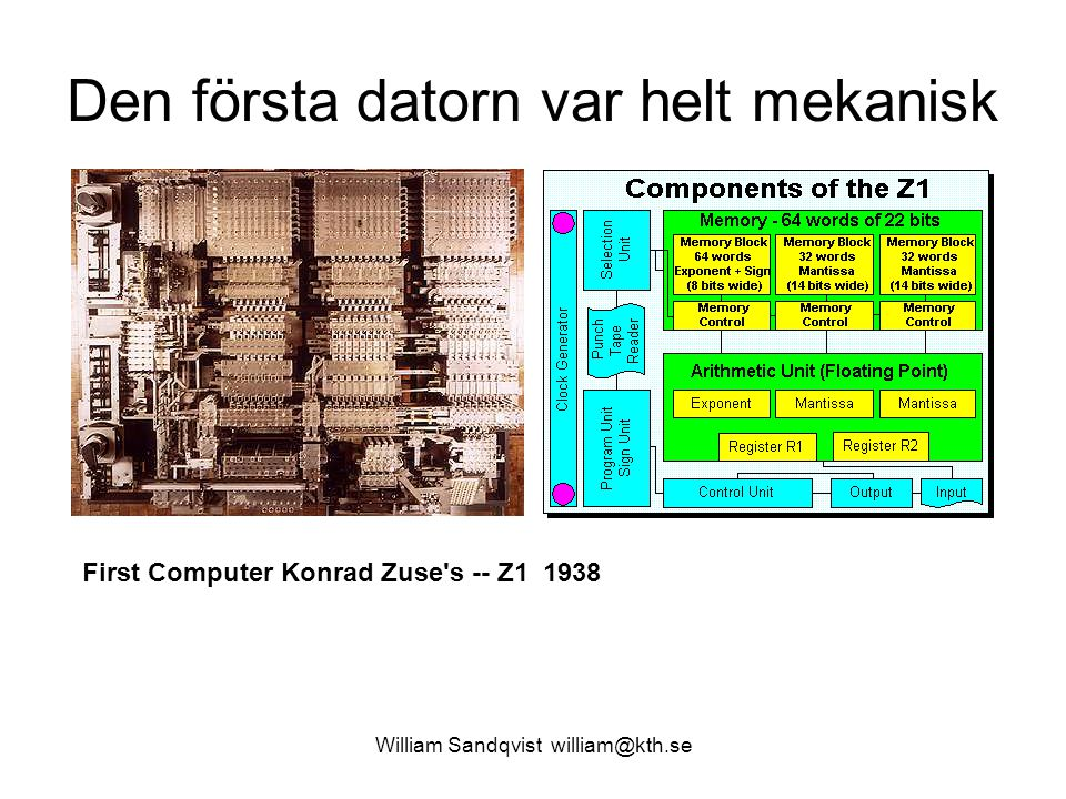 William Sandqvist william@kth.se Den första datorn var helt mekanisk First Computer Konrad Zuse's -- Z1 1938