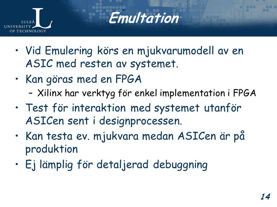14 Emultation Vid Emulering körs en mjukvarumodell av en ASIC med resten av systemet.