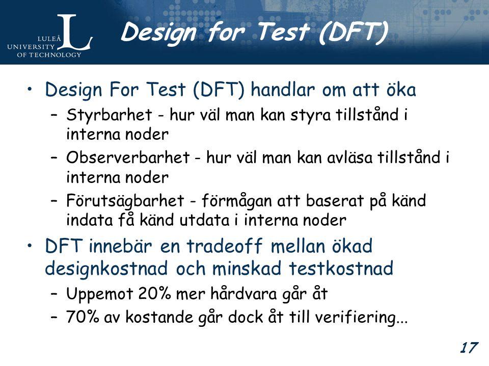 17 Design for Test (DFT) Design For Test (DFT) handlar om att öka –Styrbarhet - hur väl man kan styra tillstånd i interna noder –Observerbarhet - hur väl man kan avläsa tillstånd i interna noder –Förutsägbarhet - förmågan att baserat på känd indata få känd utdata i interna noder DFT innebär en tradeoff mellan ökad designkostnad och minskad testkostnad –Uppemot 20% mer hårdvara går åt –70% av kostande går dock åt till verifiering...