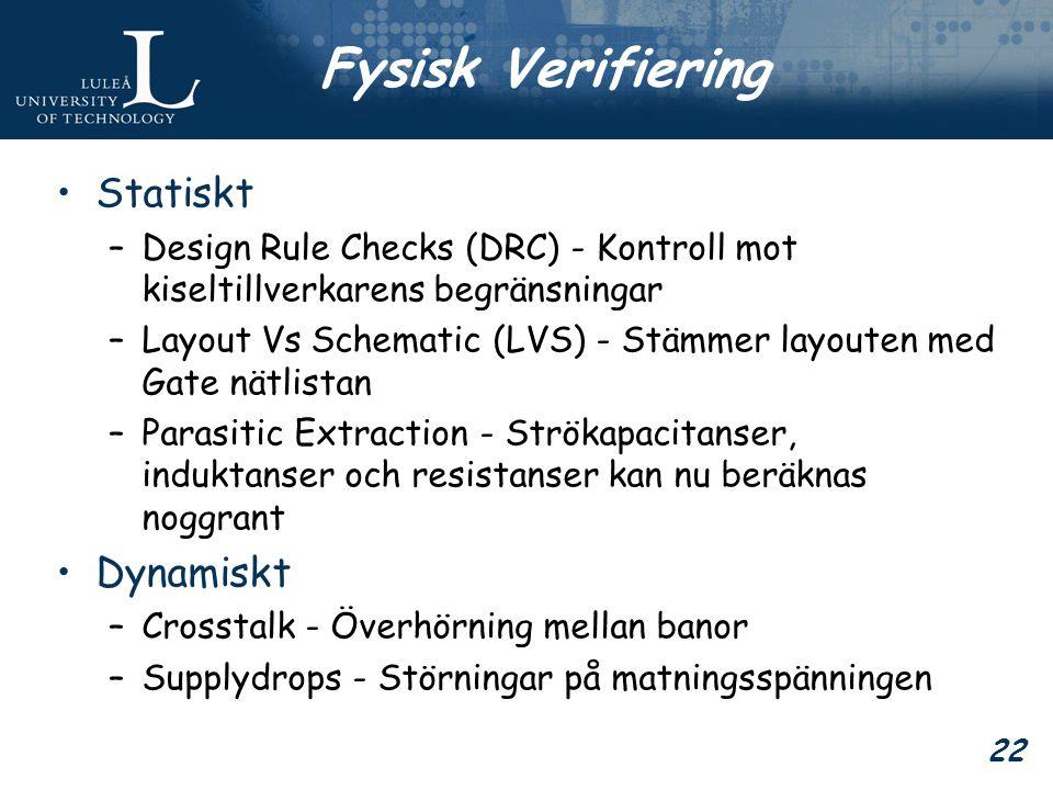 22 Fysisk Verifiering Statiskt –Design Rule Checks (DRC) - Kontroll mot kiseltillverkarens begränsningar –Layout Vs Schematic (LVS) - Stämmer layouten med Gate nätlistan –Parasitic Extraction - Strökapacitanser, induktanser och resistanser kan nu beräknas noggrant Dynamiskt –Crosstalk - Överhörning mellan banor –Supplydrops - Störningar på matningsspänningen