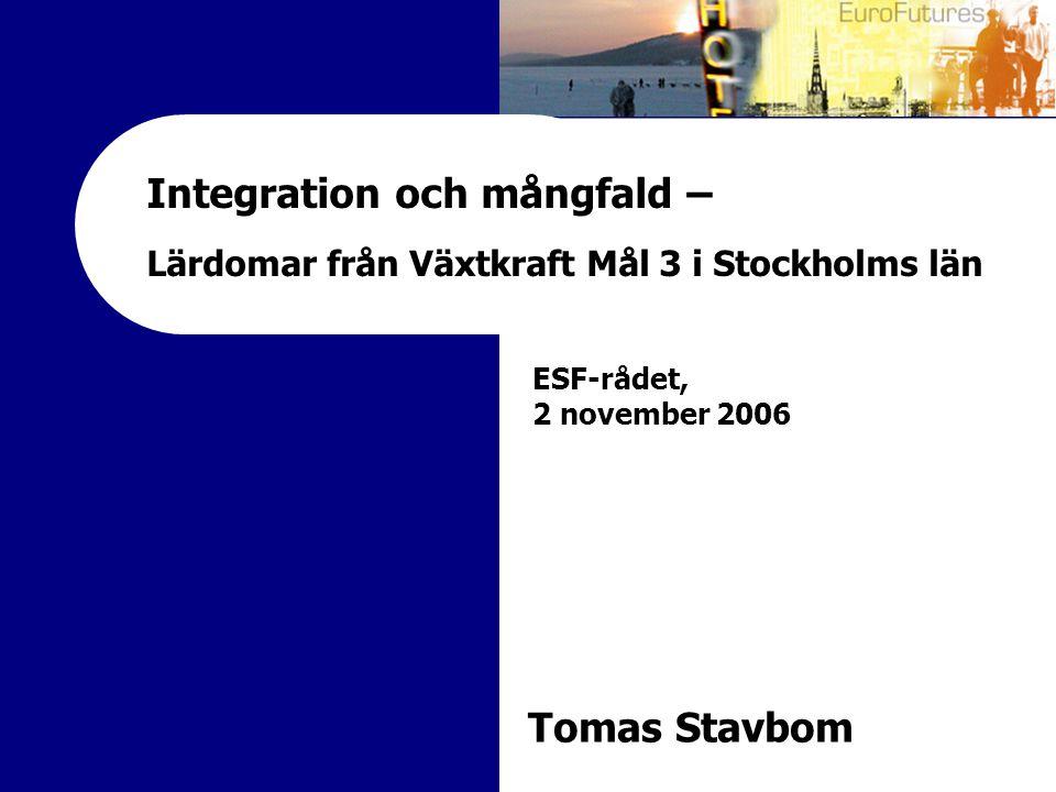 Integration och mångfald – Lärdomar från Växtkraft Mål 3 i Stockholms län ESF-rådet, 2 november 2006 Tomas Stavbom