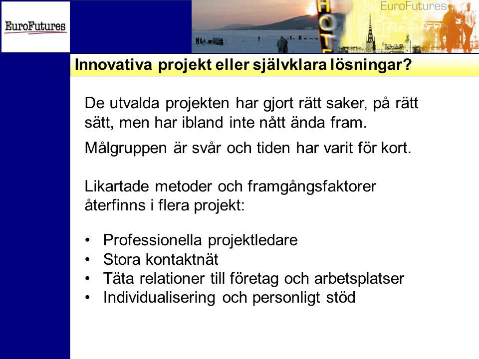 Innovativa projekt eller självklara lösningar.