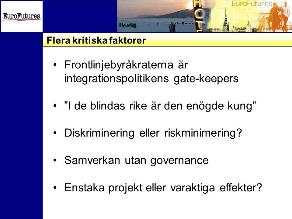 Flera kritiska faktorer Frontlinjebyråkraterna är integrationspolitikens gate-keepers I de blindas rike är den enögde kung Diskriminering eller riskminimering.