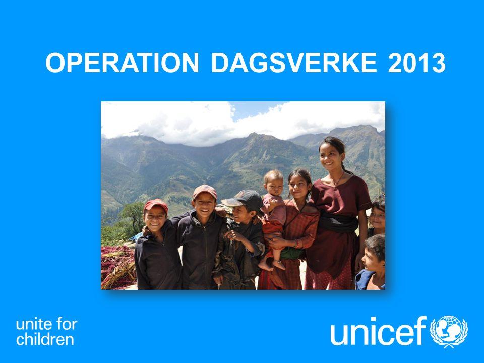 UNICEF UNITED NATIONS INTERNATIONAL CHILDREN (EMERGENCY) FUND FNs barnfond, bildades 1946 Finns i nästan alla länder Barnkonventionen som grund Uppgift att påverka och samla in pengar för barns bästa Unikt med samarbete på alla nivåer i samhället för att skapa långsiktiga förändringar Operation Dagsverke 2