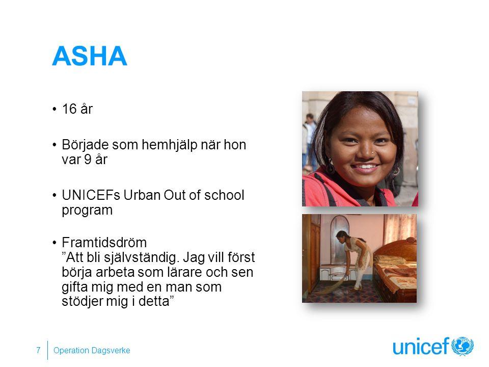 """ASHA 16 år Började som hemhjälp när hon var 9 år UNICEFs Urban Out of school program Framtidsdröm """"Att bli självständig. Jag vill först börja arbeta s"""