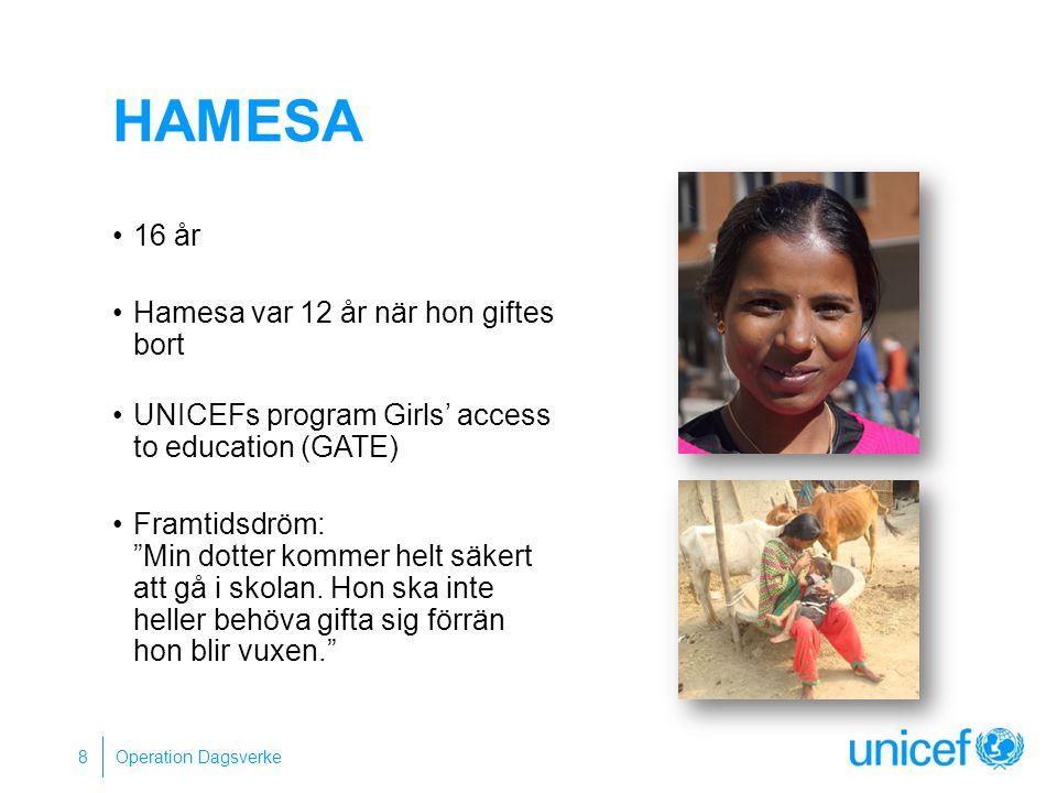 """HAMESA 16 år Hamesa var 12 år när hon giftes bort UNICEFs program Girls' access to education (GATE) Framtidsdröm: """"Min dotter kommer helt säkert att g"""