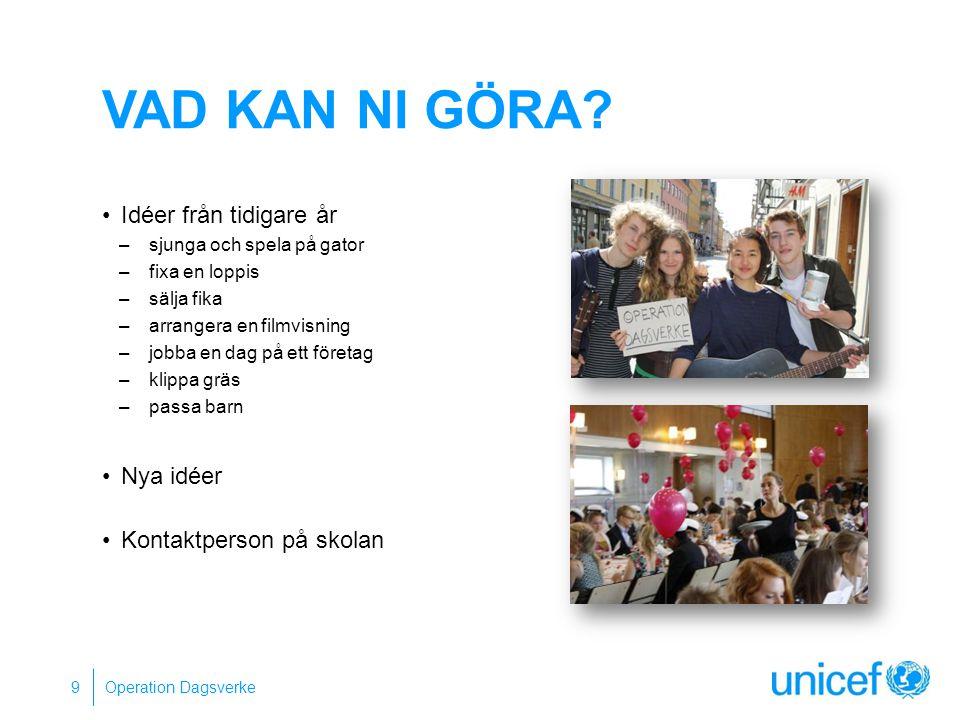 TACK FÖR IDAG Fler frågor: Kontakta oss på… Eller besök: unicef.se/operationdagsverke Operation Dagsverke 10
