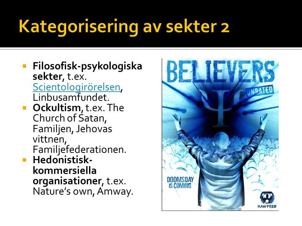  Filosofisk-psykologiska sekter, t.ex. Scientologirörelsen, Linbusamfundet. Scientologirörelsen  Ockultism, t.ex. The Church of Satan, Familjen, Jeh