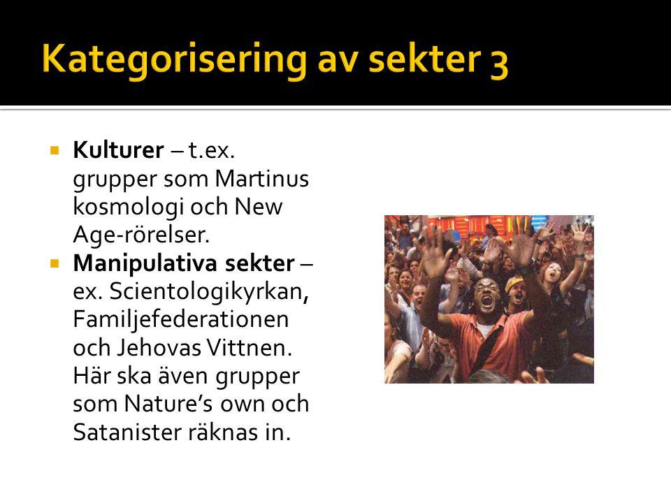  Kulturer – t.ex. grupper som Martinus kosmologi och New Age-rörelser.  Manipulativa sekter – ex. Scientologikyrkan, Familjefederationen och Jehovas