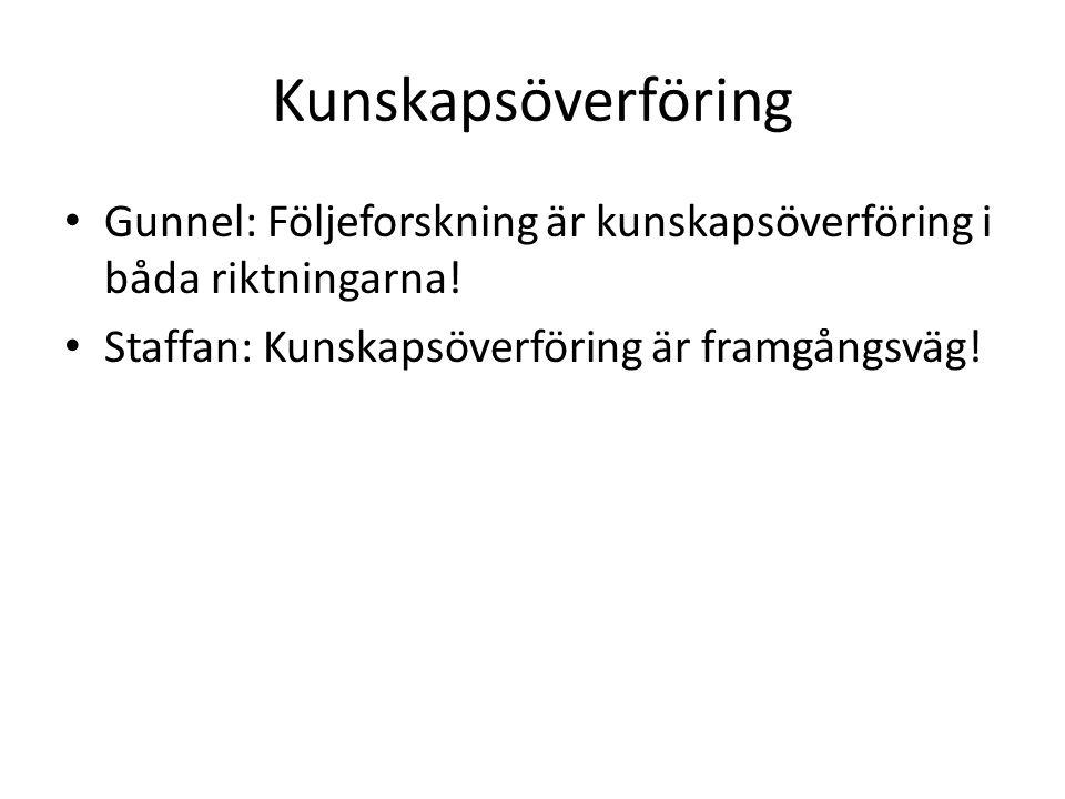 Kunskapsöverföring Gunnel: Följeforskning är kunskapsöverföring i båda riktningarna.