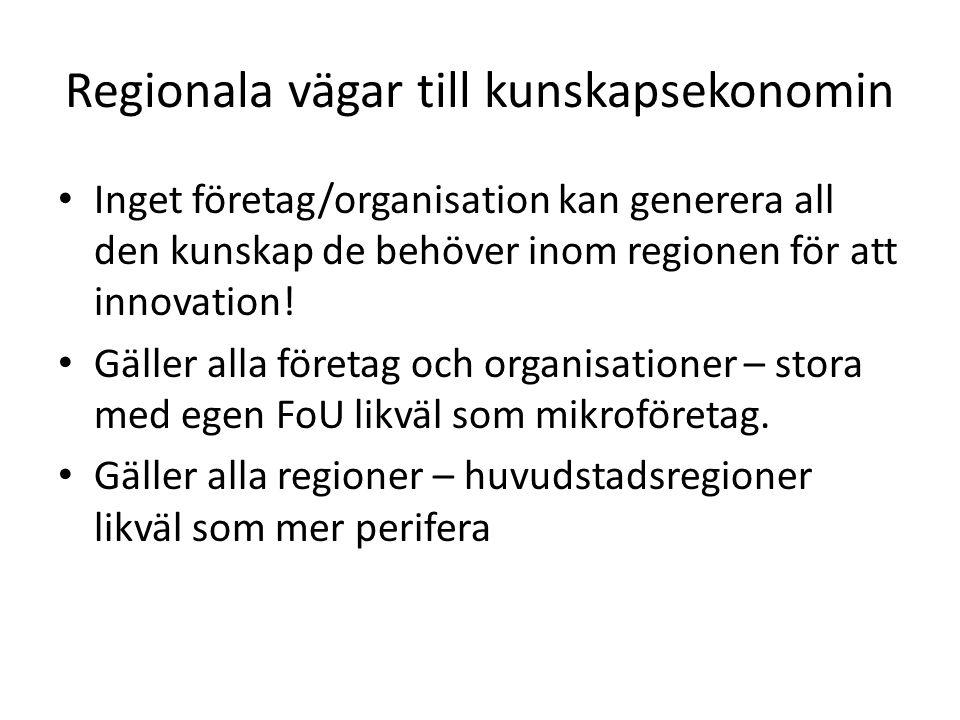 Regionala vägar till kunskapsekonomin Inget företag/organisation kan generera all den kunskap de behöver inom regionen för att innovation.