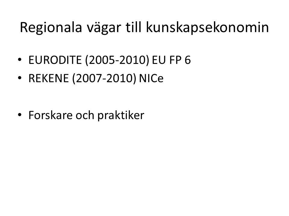 Regionala vägar till kunskapsekonomin EURODITE (2005-2010) EU FP 6 REKENE (2007-2010) NICe Forskare och praktiker
