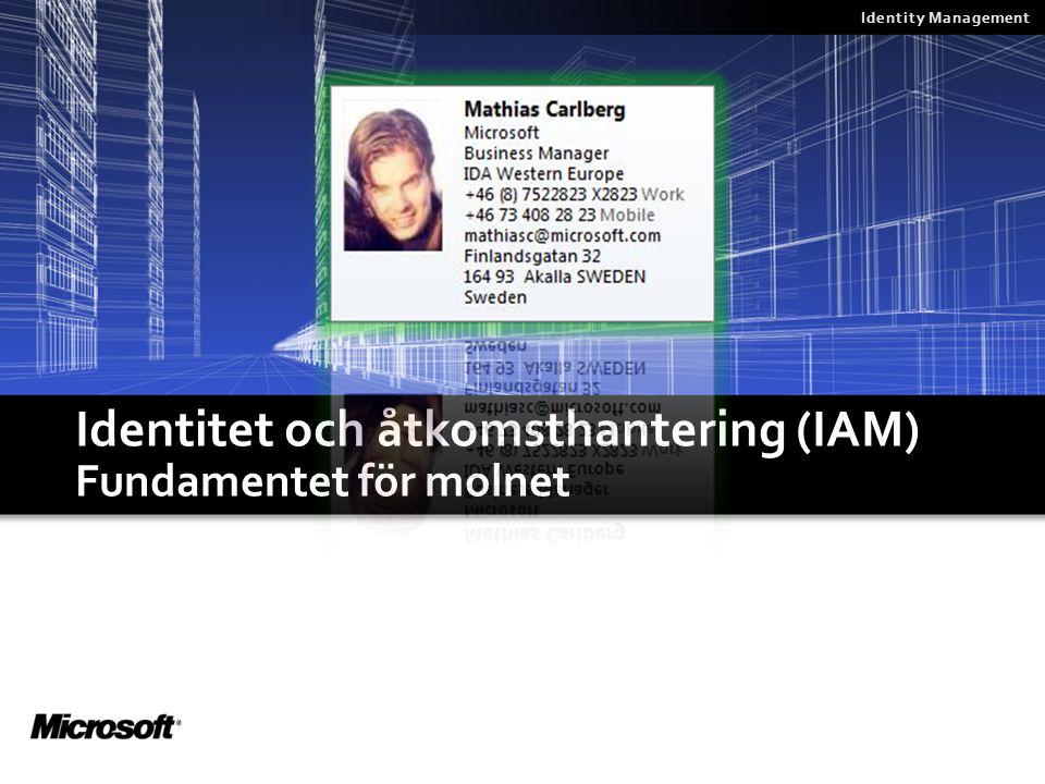 Val 1: AuthN/AuthZ data i molnet  BPOS inkluderar ett verktyg (ILM/FIM baserat) för att kopiera AuthN/AuthZ info från on-premise AD skog till molnet BPOS User1, Seller User2, HR Mngr User3, HelpDesk OP User4, Finance Cntr BPOS Synch Tool On-premise AD Data synkat var 3 timme Endast On-premise  cloud synk On-Premise Moln User1, Seller User2, HR Mngr User3, HelpDesk OP User4, Finance Cntr User1, Seller User2, HR Mngr User3, HelpDesk OP User4, Finance Cntr Lokala konton Kopia av lokala konton sparade I m,olnet