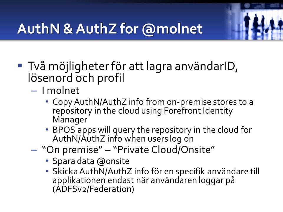 AuthN & AuthZ for @molnet  Två möjligheter för att lagra användarID, lösenord och profil – I molnet Copy AuthN/AuthZ info from on-premise stores to a repository in the cloud using Forefront Identity Manager BPOS apps will query the repository in the cloud for AuthN/AuthZ info when users log on – On premise – Private Cloud/Onsite Spara data @onsite Skicka AuthN/AuthZ info för en specifik användare till applikationen endast när användaren loggar på (ADFSv2/Federation)