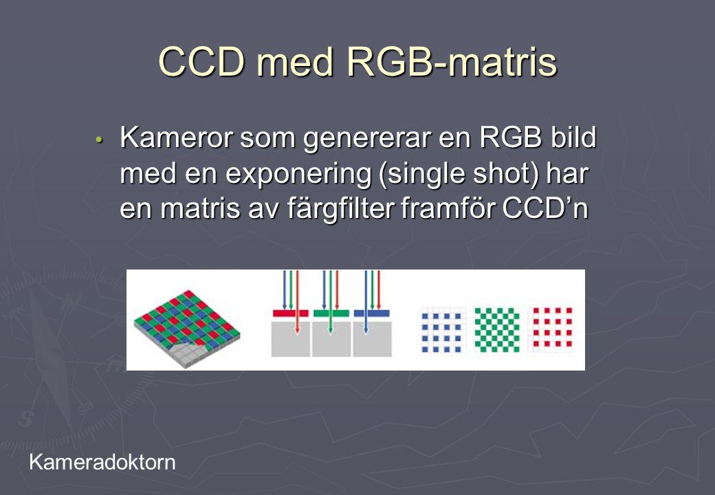 Kameradoktorn CCD med RGB-matris Kameror som genererar en RGB bild med en exponering (single shot) har en matris av färgfilter framför CCD'n Kameror s
