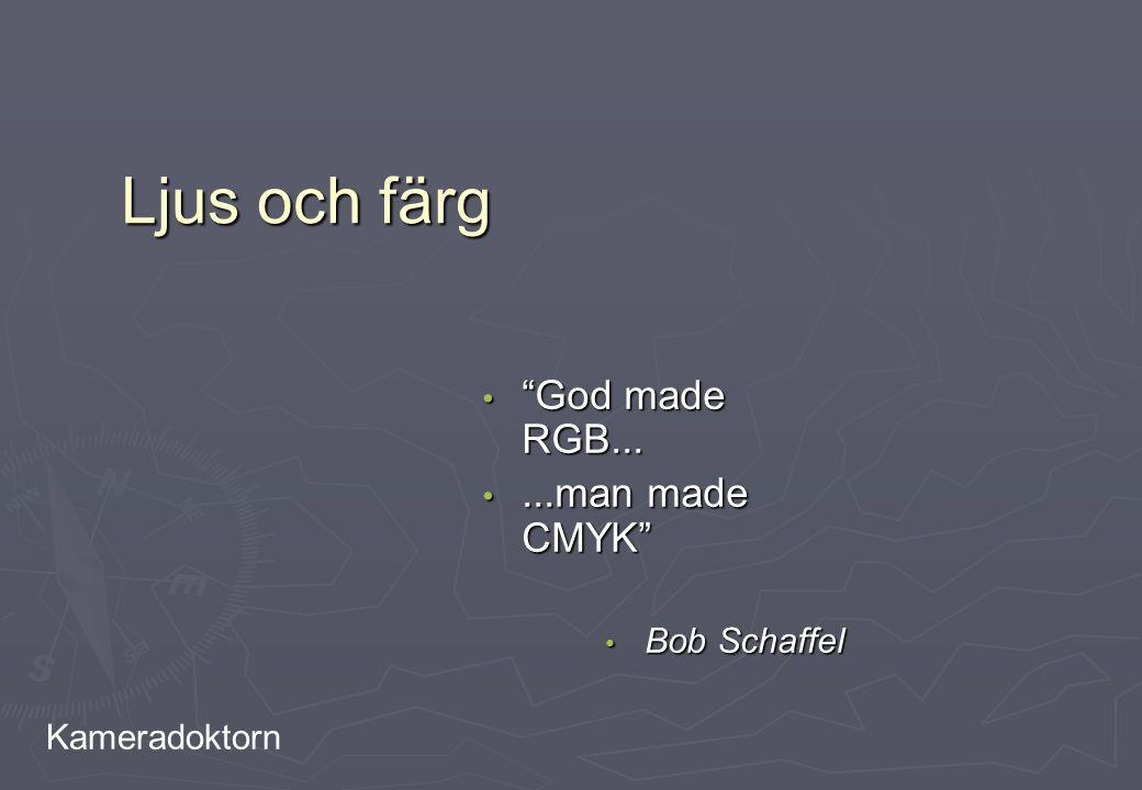 """Kameradoktorn Ljus och färg """"God made RGB... """"God made RGB......man made CMYK""""...man made CMYK"""" Bob Schaffel Bob Schaffel"""