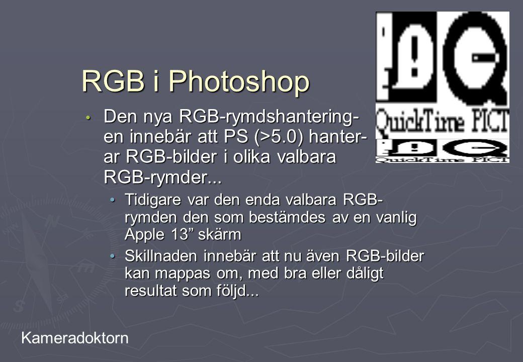 Kameradoktorn RGB i Photoshop Den nya RGB-rymdshantering- en innebär att PS (>5.0) hanter- ar RGB-bilder i olika valbara RGB-rymder... Den nya RGB-rym