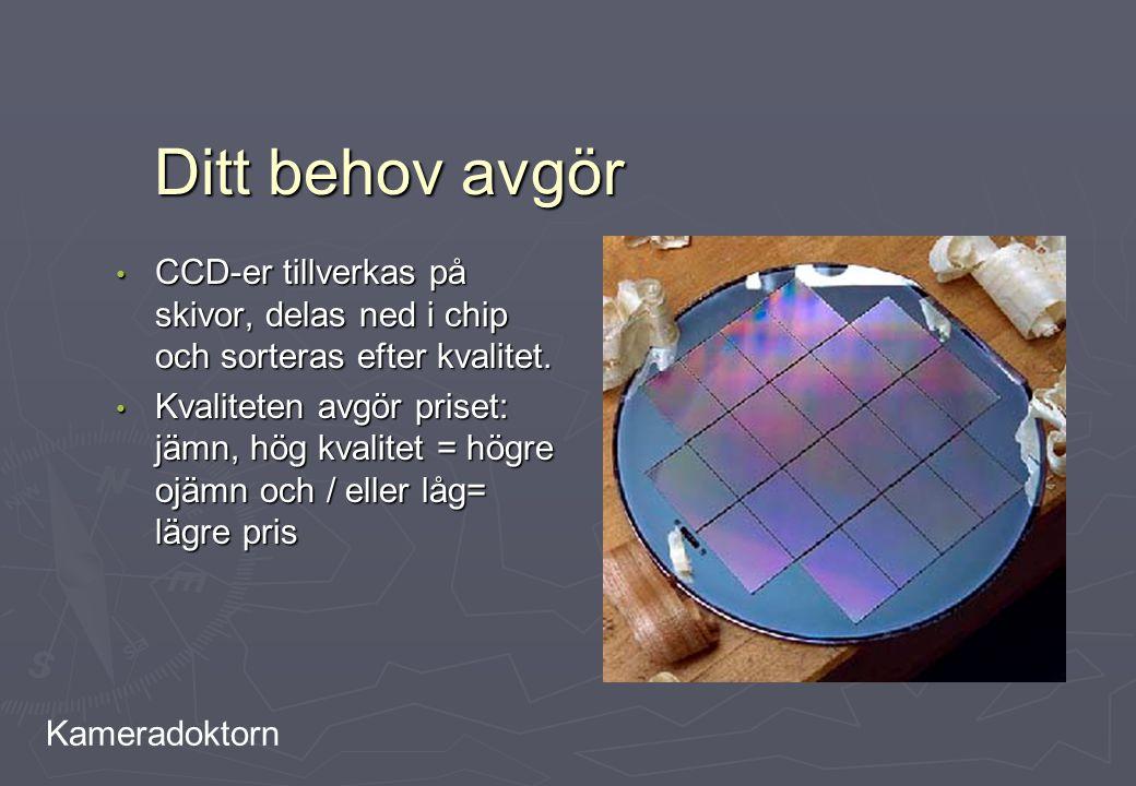 Kameradoktorn Ditt behov avgör CCD-er tillverkas på skivor, delas ned i chip och sorteras efter kvalitet. CCD-er tillverkas på skivor, delas ned i chi