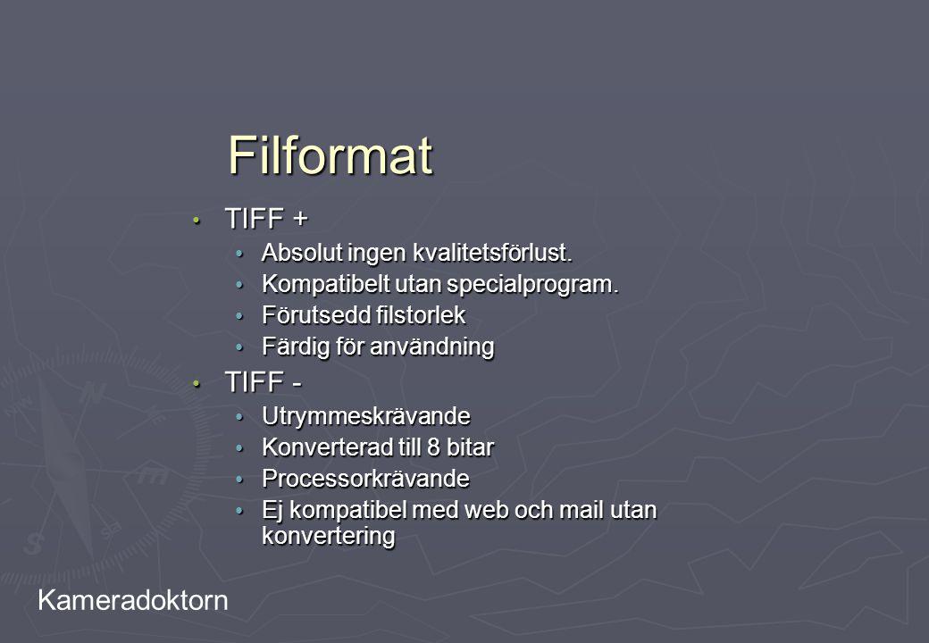Kameradoktorn Filformat TIFF + TIFF + Absolut ingen kvalitetsförlust. Absolut ingen kvalitetsförlust. Kompatibelt utan specialprogram. Kompatibelt uta
