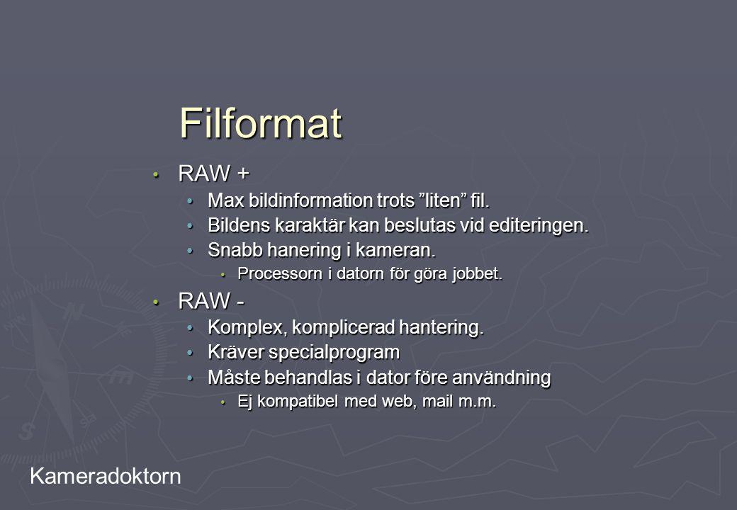"""Kameradoktorn Filformat RAW + RAW + Max bildinformation trots """"liten"""" fil. Max bildinformation trots """"liten"""" fil. Bildens karaktär kan beslutas vid ed"""
