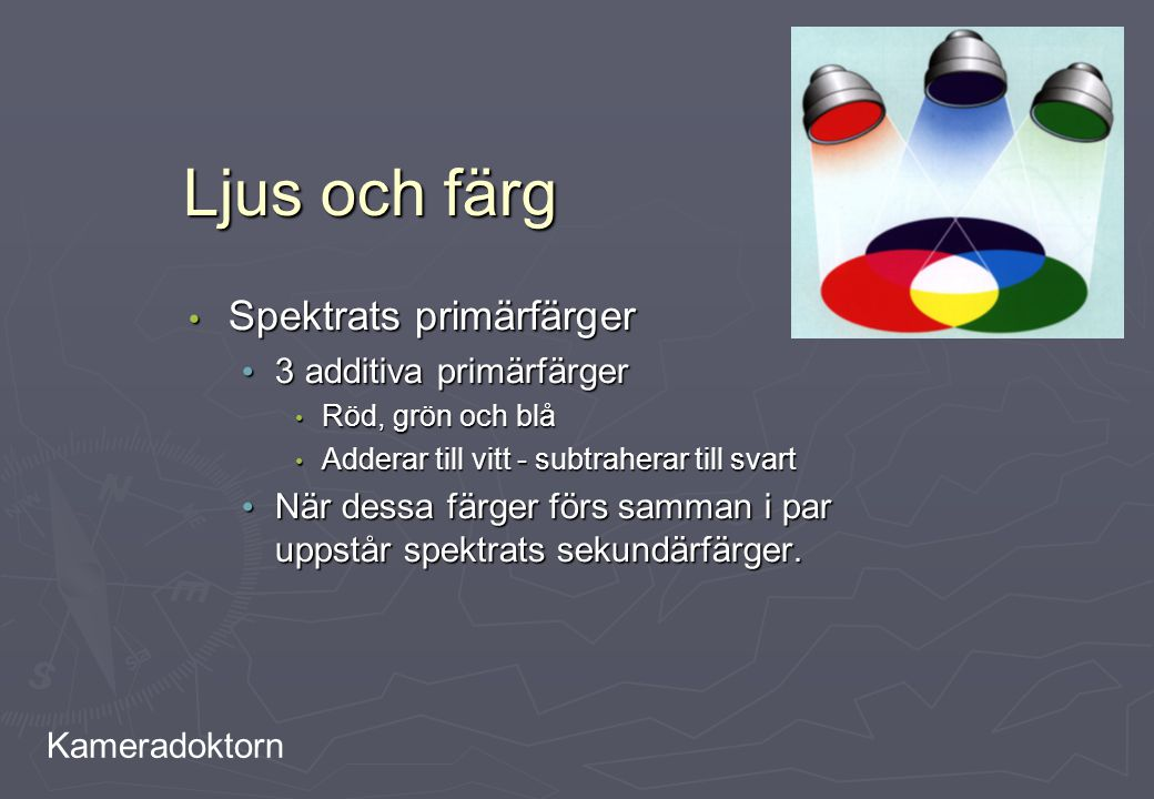 Kameradoktorn Ljus och färg Spektrats primärfärger Spektrats primärfärger 3 additiva primärfärger 3 additiva primärfärger Röd, grön och blå Röd, grön