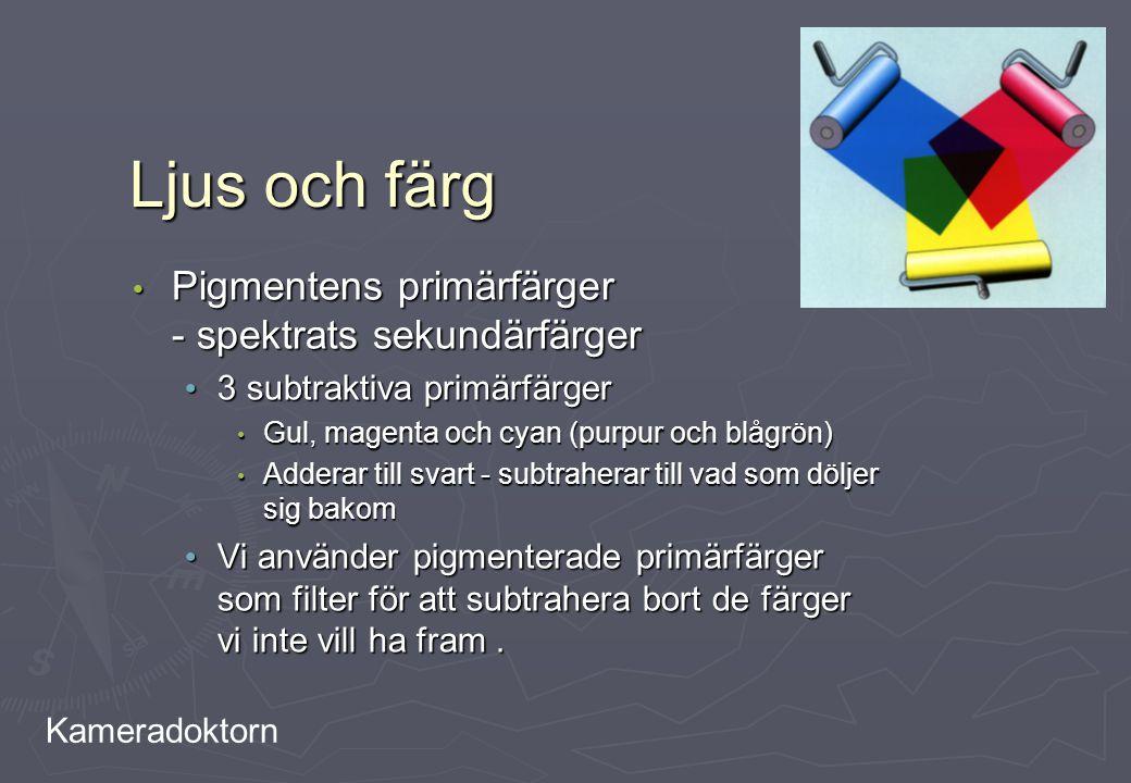 Kameradoktorn Ljus och färg Pigmentens primärfärger - spektrats sekundärfärger Pigmentens primärfärger - spektrats sekundärfärger 3 subtraktiva primär