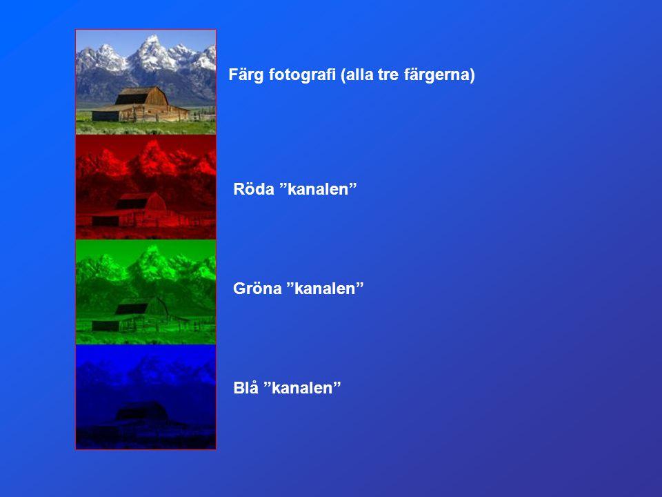 """Färg fotografi (alla tre färgerna) Röda """"kanalen"""" Gröna """"kanalen"""" Blå """"kanalen"""""""