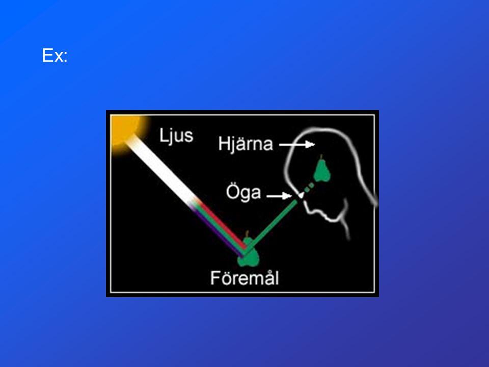 Ex: Bakgrundsfärg på webbsidor (RGB-färger Röd Grön Blå) #FF0000 = RÖD #00FF00 = GRÖN #FFFF00 = GUL SVART =#000000VIT =#FFFFFF