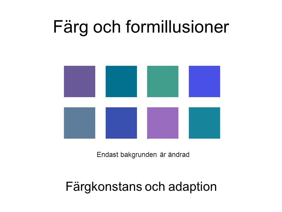 Färg och formillusioner Färgkonstans och adaption Endast bakgrunden är ändrad