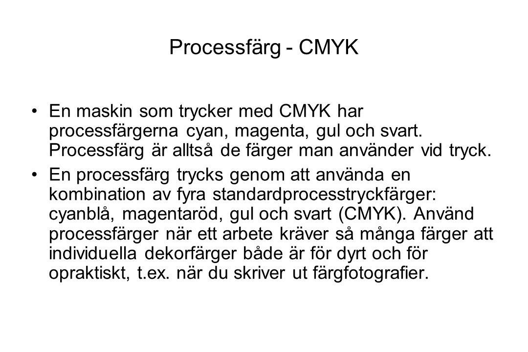 Processfärg - CMYK En maskin som trycker med CMYK har processfärgerna cyan, magenta, gul och svart. Processfärg är alltså de färger man använder vid t