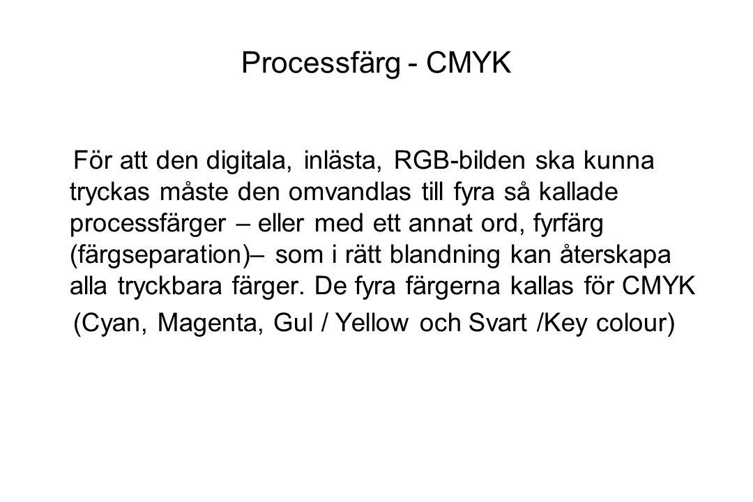 Processfärg - CMYK För att den digitala, inlästa, RGB-bilden ska kunna tryckas måste den omvandlas till fyra så kallade processfärger – eller med ett