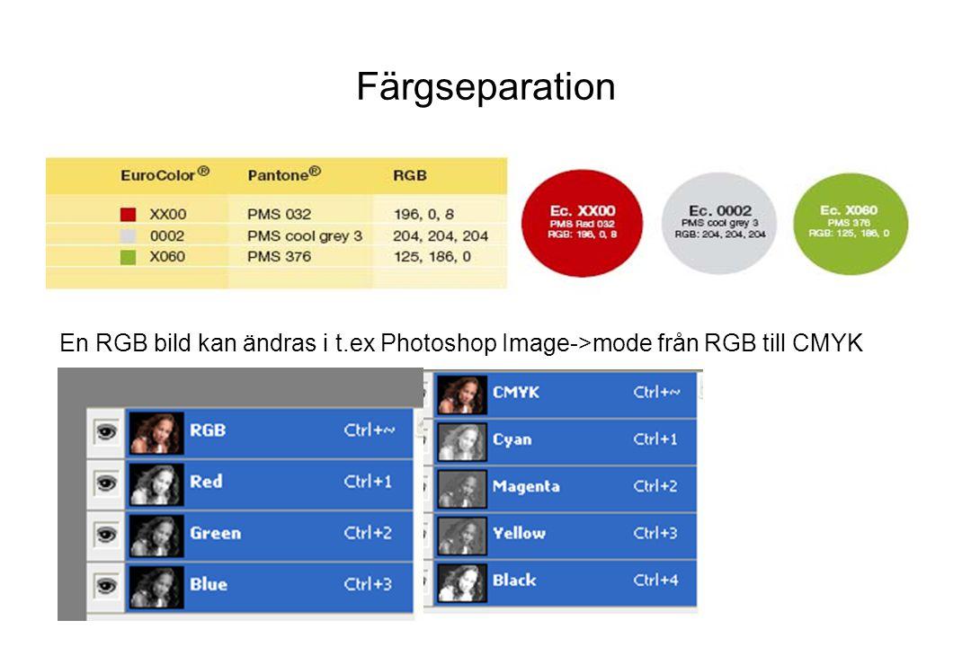 En RGB bild kan ändras i t.ex Photoshop Image->mode från RGB till CMYK Färgseparation