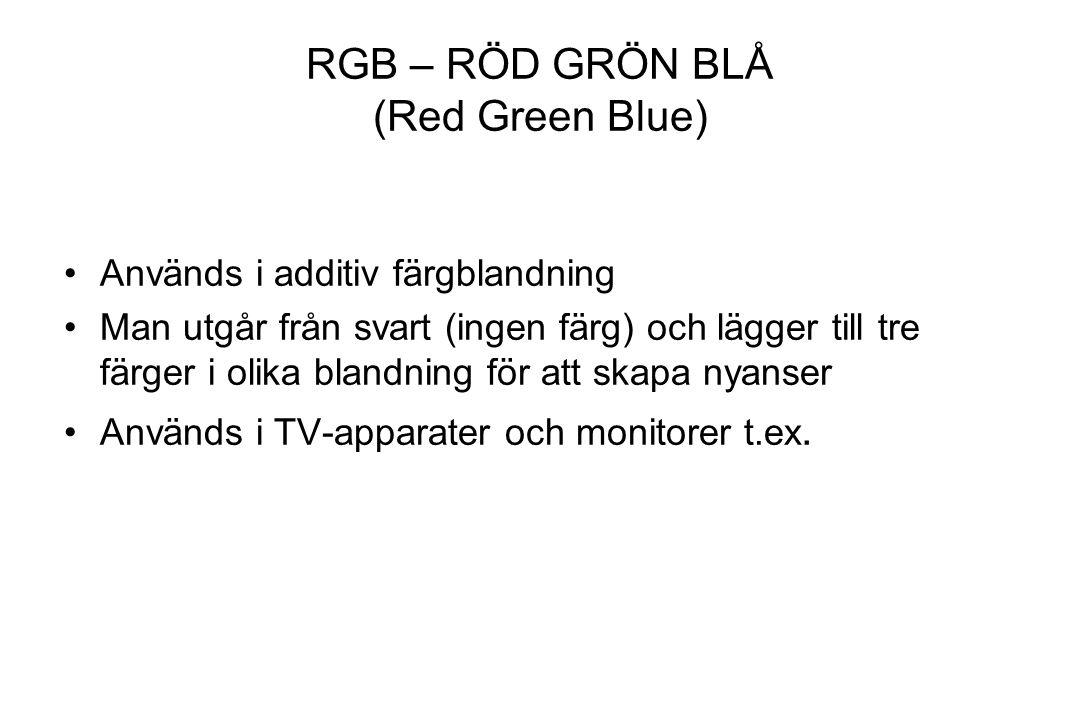 RGB – RÖD GRÖN BLÅ (Red Green Blue) Används i additiv färgblandning Man utgår från svart (ingen färg) och lägger till tre färger i olika blandning för