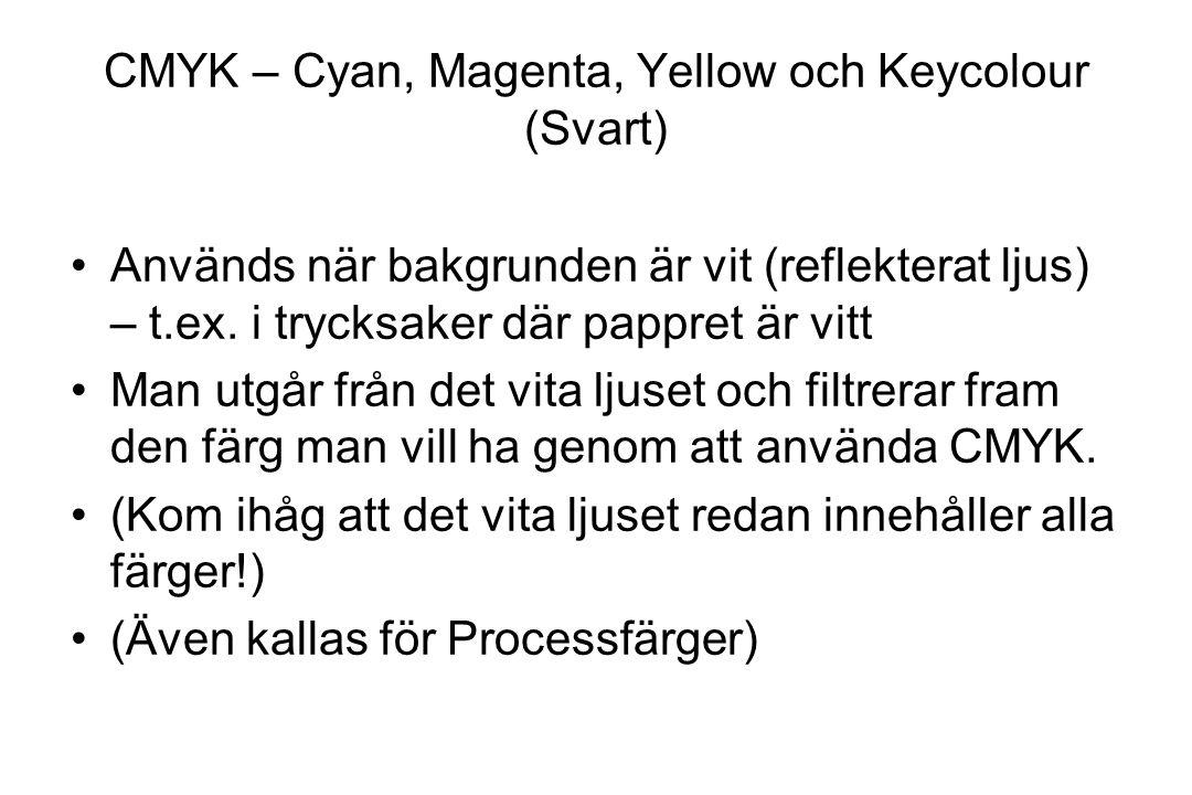 CMYK – Cyan, Magenta, Yellow och Keycolour (Svart) Används när bakgrunden är vit (reflekterat ljus) – t.ex. i trycksaker där pappret är vitt Man utgår