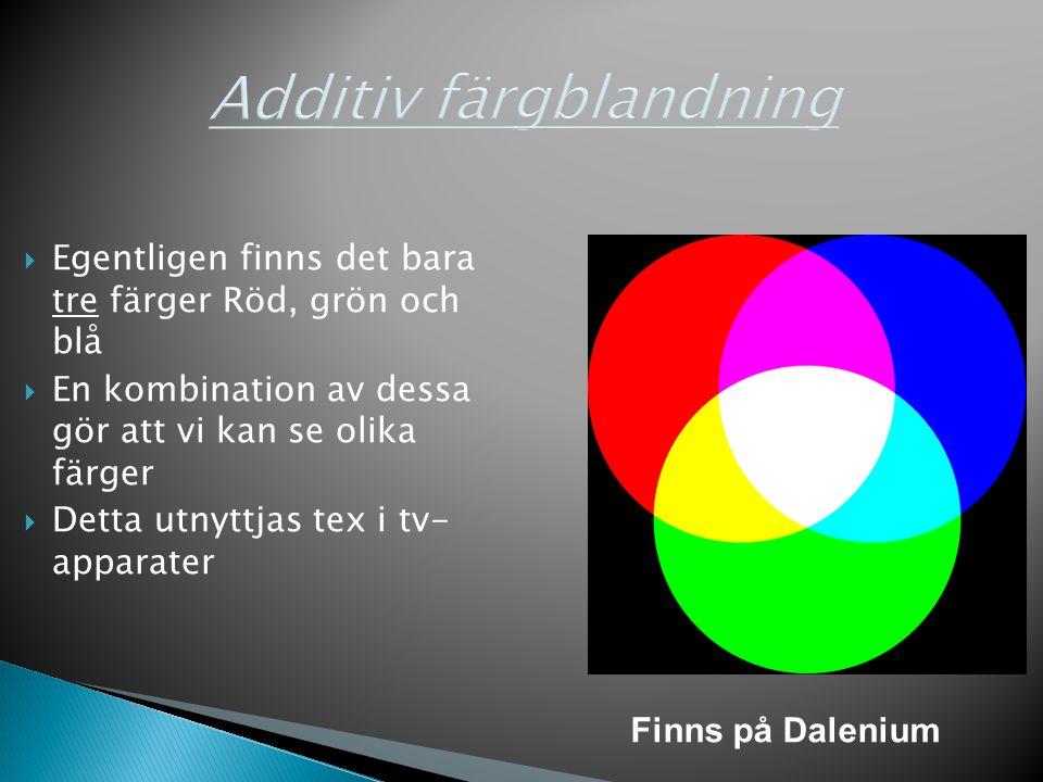  Egentligen finns det bara tre färger Röd, grön och blå  En kombination av dessa gör att vi kan se olika färger  Detta utnyttjas tex i tv- apparate